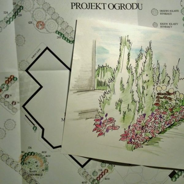 Projekty ogrodów Białystok szkic przestrzeni ogrodu