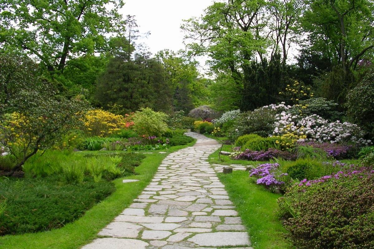 kamienna ścieżka w białostockim ogrodzie